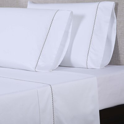 600 Thread Count Cotton Sheet Set Color: White/Hunter Green, Size: Queen