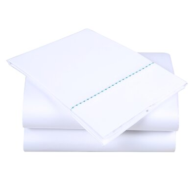600 Thread Count Cotton Sheet Set Size: King, Color: White/Blue Green