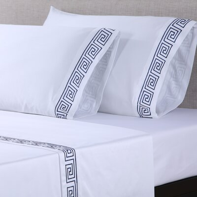 4 Piece 600 Thread Count Cotton Embroidered Sheet Set Size: Queen