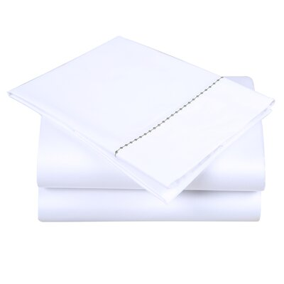 600 Thread Count Cotton Sheet Set Color: White/Hunter Green, Size: King