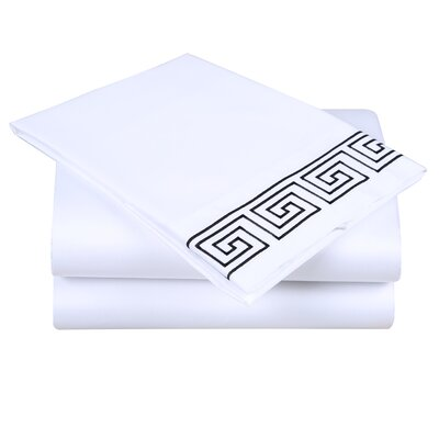 600 Thread Count Cotton Sheet Set Size: Queen, Color: White/Black