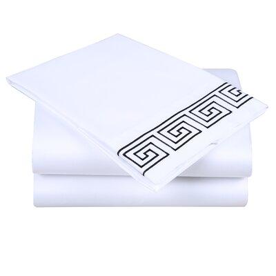 600 Thread Count Cotton Sheet Set Size: King, Color: White/Black