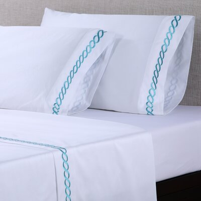 4 Piece 600 Thread Count Cotton Embroidered Sheet Set Size: Full