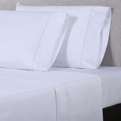 600 Thread Count Cotton Sheet Set Color: White/Light Green, Size: King