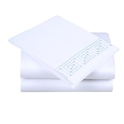 600 Thread Count Cotton Sheet Set Size: King, Color: White/Spa Blue
