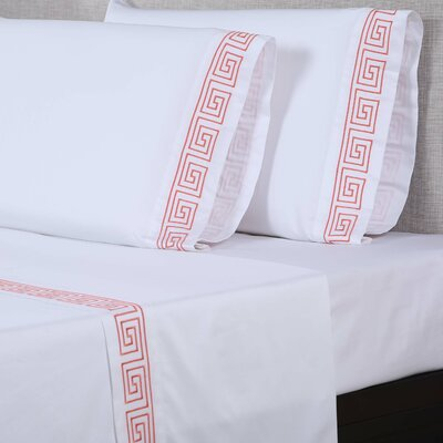 600 Thread Count Cotton Sheet Set Size: Queen, Color: White/Desert Rose