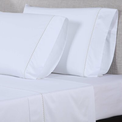 600 Thread Count Cotton Sheet Set Size: Queen, Color: White/Light Green