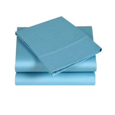 300 Thread Count Cotton Sateen Sheet Set Color: Turquoise, Size: Queen
