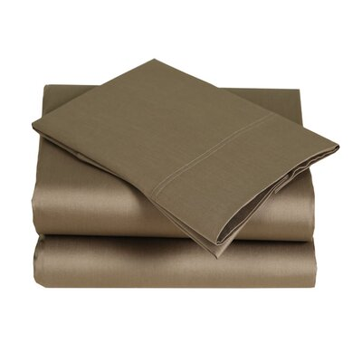 300 Thread Count Cotton Sateen Sheet Set Color: Mocha, Size: King