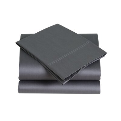 300 Thread Count Cotton Sateen Sheet Set Size: King, Color: Gray
