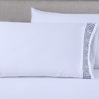 600 Thread Count Cotton Embroidered Pillowcase Size: King, Color: Greek Key White/Navy