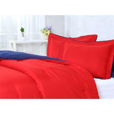 Reversible Comforter Set Size: Full/Queen, Color: Red/Navy