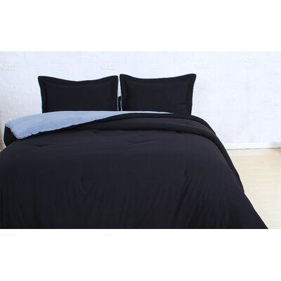 Reversible Comforter Set Size: Full/Queen, Color: Black/Light Gray