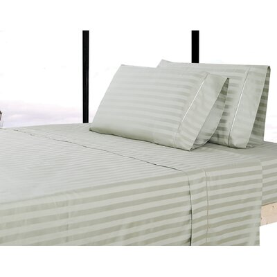 500 Thread Count 100% Cotton Striped Sheet Set Size: King, Color: Green Tea
