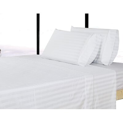 500 Thread Count 100% Cotton Striped Sheet Set Size: Queen, Color: White