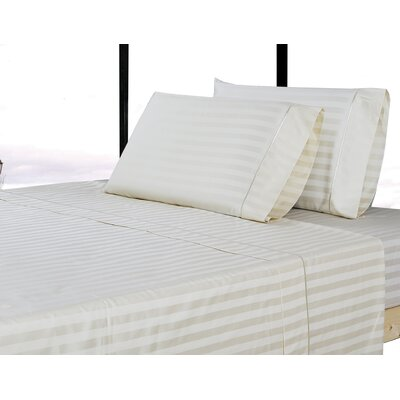 500 Thread Count 100% Cotton Striped Sheet Set Size: King, Color: Ivory