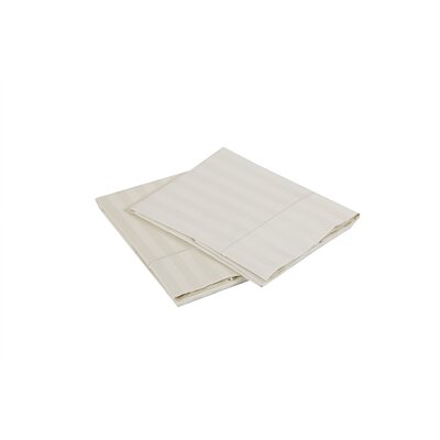 500 Thread Count 100% Cotton Striped Pillowcase Size: Standard, Color: Ivory