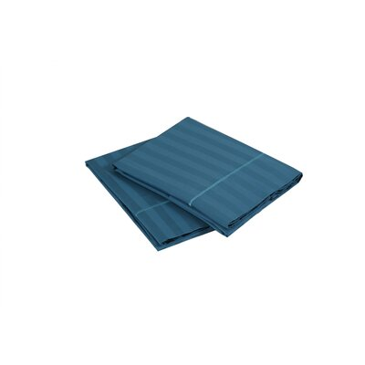 500 Thread Count 100% Cotton Striped Pillowcase Size: Standard, Color: Teal