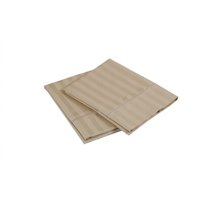 500 Thread Count 100% Cotton Striped Pillowcase Size: Standard, Color: Wheat