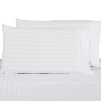 500 Thread Count 100% Cotton Striped Pillowcase Color: White, Size: King