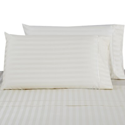 500 Thread Count 100% Cotton Striped Pillowcase Color: Ivory, Size: Standard