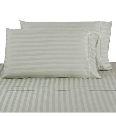 500 Thread Count 100% Cotton Striped Pillowcase Color: Green Tea, Size: Standard