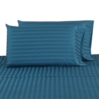 500 Thread Count 100% Cotton Striped Pillowcase Color: Teal, Size: Standard