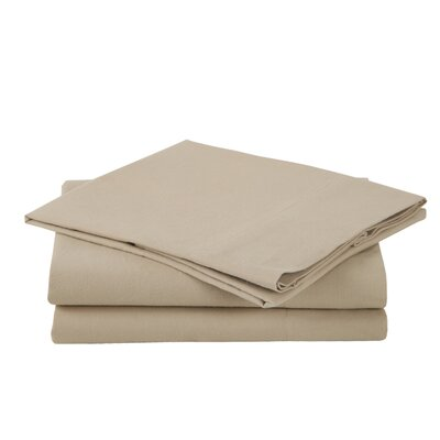 Combed Cotton Luxury Flannel Sheet Set Color: Wheat, Size: Full