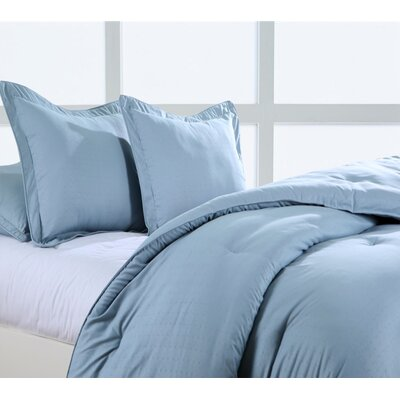Luxury Embossed Polyester Sham Size: King, Color: Steel Blue