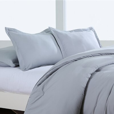 Luxury Embossed Polyester Sham Size: Standard/Queen, Color: Silver Grey