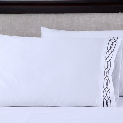 600 Thread Count Cotton Embroidered Pillowcase Color: Lattice White/Slate Grey, Size: King