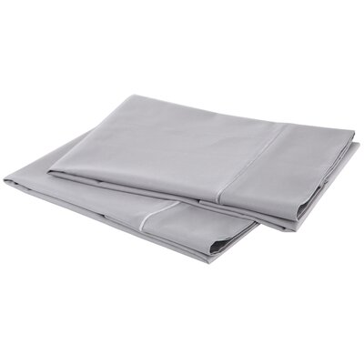 1000 Thread Count Luxury Cotton Sateen Pillowcase Set Color: Delorean Gray, Size: Standard / Queen