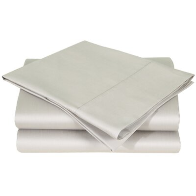 600 Thread Count Premium Cotton Sateen Pillowcase Set Size: King, Color: Silver