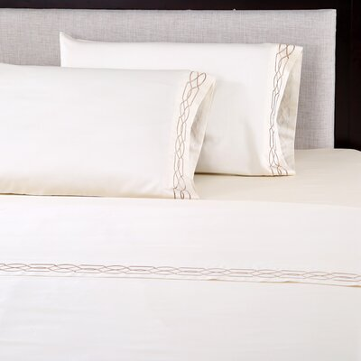 600 Thread Count Cotton Embroidered Pillowcase Size: King, Color: Lattice Ivory/Taupe