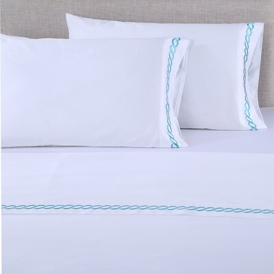 600 Thread Count Cotton Embroidered Pillowcase Size: King, Color: Chain White/Pool Blue