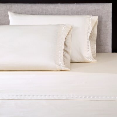 600 Thread Count Cotton Embroidered Pillowcase Size: King, Color: Chain Ivory/Ivory