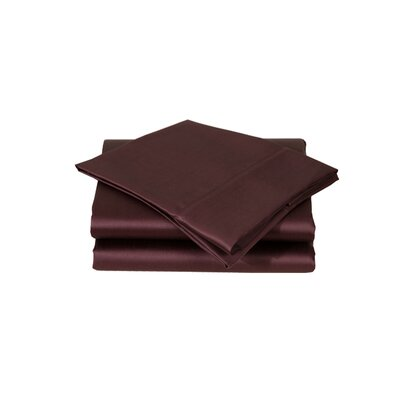 600 Thread Count Premium Cotton Sateen Sheet Set Size: King, Color: Deep Plum