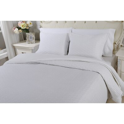 Chandler Luxury Quilted 2 Piece Sham Set Size: Queen, Color: Stark White