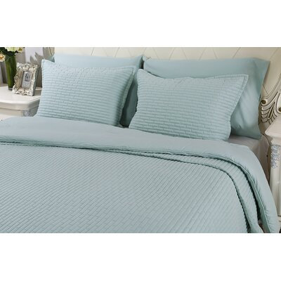 Chandler Luxury Quilted 2 Piece Sham Set Size: Queen, Color: Sea Breeze