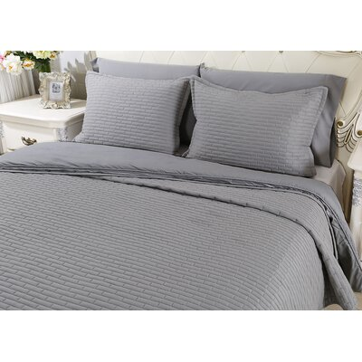 Chandler Luxury Quilted 2 Piece Sham Set Size: King, Color: Soft Gray