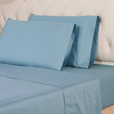 Hipolito 620 Thread Count 100% Cotton Sheet Set Size: Queen, Color: Blue