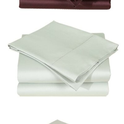 600 Thread Count Premium Cotton Sateen Sheet Set Size: Split King, Color: Ivory