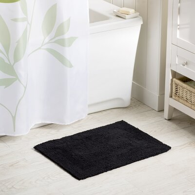 Wayfair Basics Reversible Bath Rug Size: 17 x 24, Color: Black