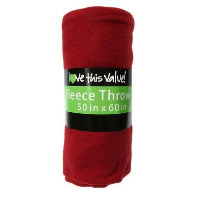 Wayfair Basics Fleece Throw Blanket Color: Red