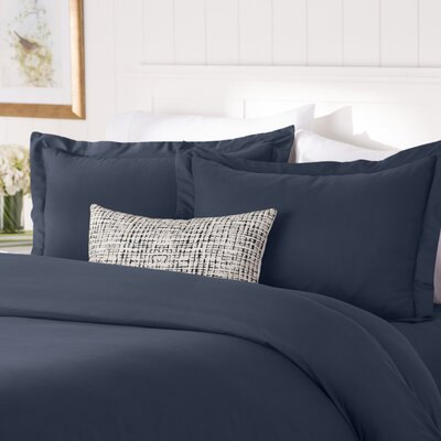 Wayfair Basics 3 Piece Duvet Cover Set Color: Navy, Size: Full / Queen