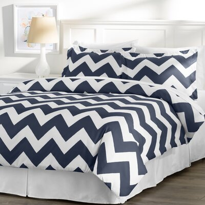 Wayfair Basics 3 Piece Duvet Cover Set Size: Twin, Color: White / Navy
