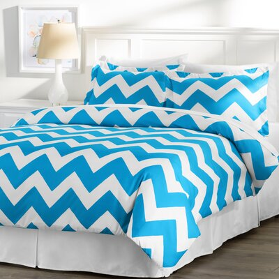 Wayfair Basics 3 Piece Chevron Down Alternative Duvet Cover Set Size: Full / Queen, Color: White / Blue