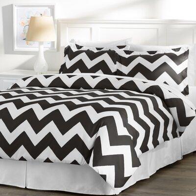 Wayfair Basics 3 Piece Duvet Cover Set Size: Full / Queen, Color: White / Black