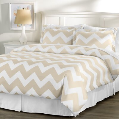 Wayfair Basics 3 Piece Chevron Down Alternative Duvet Cover Set Size: Full / Queen, Color: White / Taupe