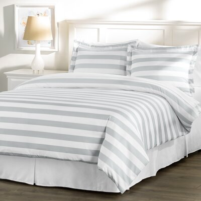 Wayfair Basics 3 Piece Striped Down Alternative Duvet Cover Set Size: Twin, Color: White / Grey